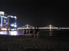 広安里海水浴場の夜景